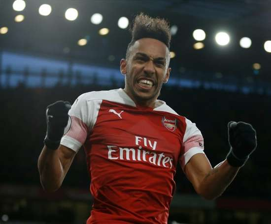 Aubameyang s brace helped his side overcome Rennes. AFP c969bf6ffff