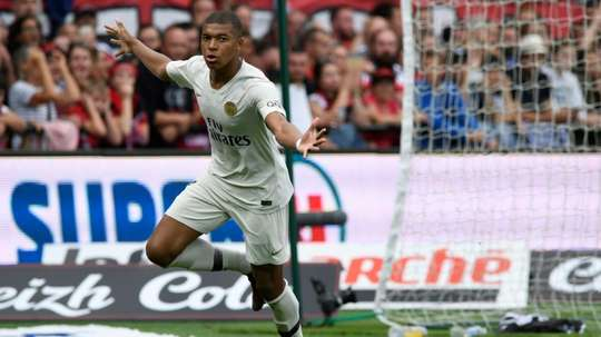Kylian Mbappe celebrates after putting PSG ahead against Guingamp. AFP