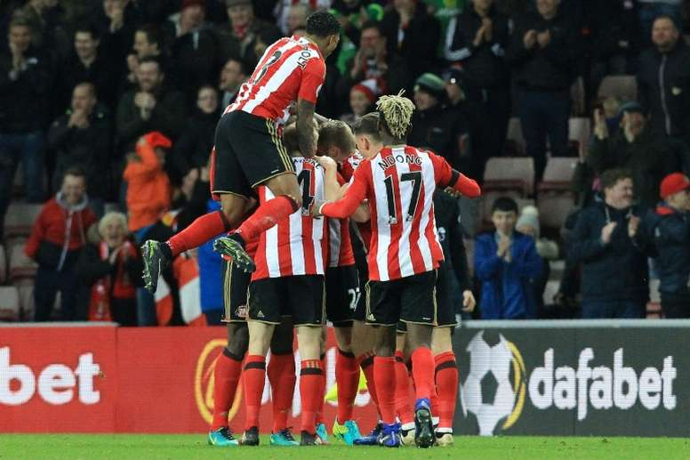 Sunderland players celebrate after a header from Jan Kirchhoff. AFP
