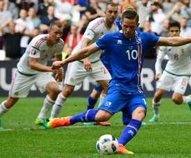 Gylfi Sigurdsson could not stop Iceland's relegation. AFP