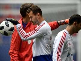 Igor Akinfeev no tiene miedo a Salah. AFP/Archivo