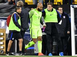 US goalkeeper Tim Howard is helped off of the field after being injured in the first half against Mexico during the FIFA 2018 World Cup Qualifier at MAPFRE Stadium on November 11, 2016 in Columbus, Ohio
