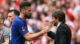 Giroud joined the club under Antonio Conte, but may not be Sarri's choice. AFP