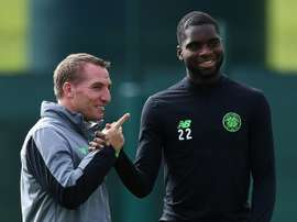 Odsonne Edouard pictured with manager Brendan Rodgers. AFP