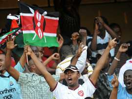 Kenyan football fans celebrate in Nairobi on November 14, 2009