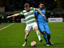 Celtic midfielder Stuart Armstrong, left, seen here in action in February, admitted that the Champions League exertions against Qarabag in Azerbaijan had taken its toll on the Celtic players