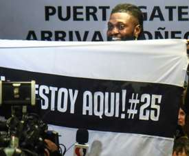 Hundreds of Olimpia fans welcome Adebayor to Paraguay. AFP