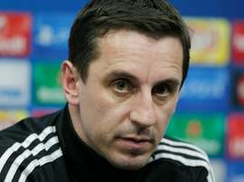 Valencias coach Gary Neville looks on during a press conference at the Valencias Sport City in Valencia on December 8, 2015, on the eve of the UEFA Champions League match Valencia CF vs Lyon