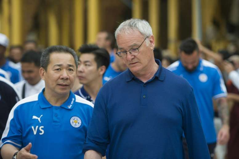 Leicester City owner Vichai Srivaddhanaprabha (left) says Vardy's three-match ban is unfair. AFP