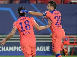 Giroud (L) produced a remarkable four-goal display. AFP