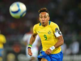 Gabons forward Pierre-Emerick Aubameyang runs after the ball during the 2015 African Cup of Nations group A football match between Burkina Faso and Gabon at Bata Stadium in Bata on January 17, 2015