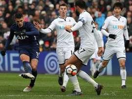 O Tottenham bateu o Swansea por 0-3. AFP
