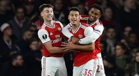 El Arsenal, siete goles en dos partidos en Europa League. AFP