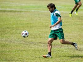New York Cosmos soccer team player Spanish Raul Gonzalez takes part in a training session at the Pedro Marrero stadium on June 1, 2015 in Havana