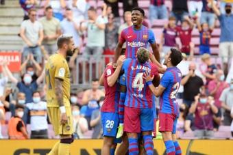 Ansu Fati lideró un triunfo cómodo del Barça. AFP