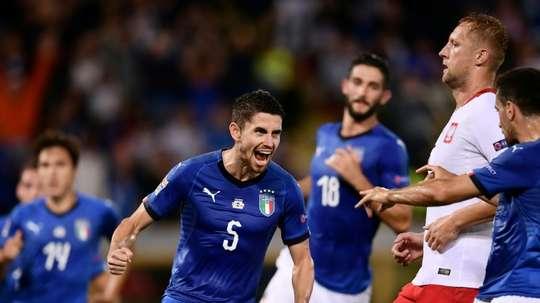 Jorginho scored his first goal for Italy. AFP