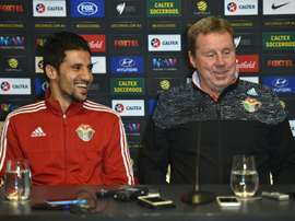 Jordan coach Harry Redknapp and player Hamza Al-Dardour attend a press conference, Sydney. BeSoccer