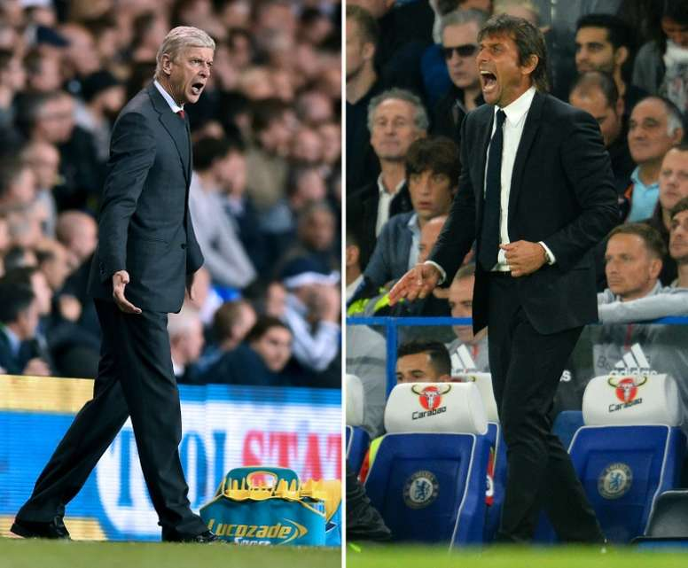 Conte and Wenger will go head-to-head at Stamford Bridge. AFP