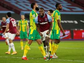 West Ham forward Michail Antonio celebrates scoring against West Brom. AFP