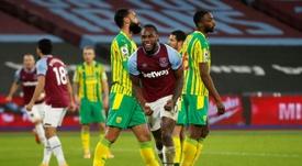 West Ham forward Michail Antonio celebrates scoring against West Brom. AFP