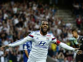 Lyons French forward Alexandre Lacazette celebrating after scoring a goal during the French L1 football match Olympique Lyonnais (OL) vs SC Bastia (SCB) , at the Gerland Stadium in Lyon