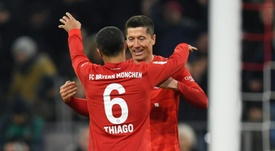 Lewandowski is the Bundesliga's leading goalscorer after scoring v Schalke. AFP