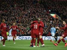 Liverpool celebrate Naby Keita's goal. AFP