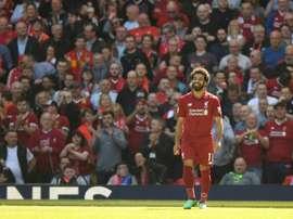 Salah faz história no Liverpool. AFP