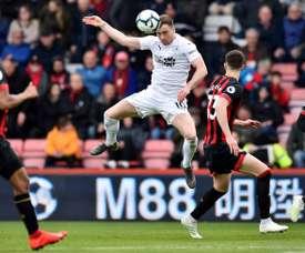 Barnes scores for Burnley. AFP