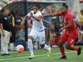 US player Timmy Chandler (L) tries to get past Panama's Anibal Godoy during their 2015 CONCACAF Gold Cup third place match on July 25, 2015 in Chester, Pennsylvania