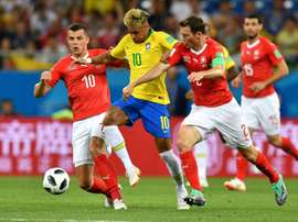 Neymar was targeted by the Swiss defence. AFP