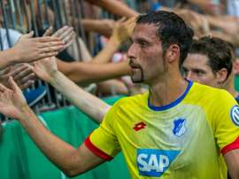 Hoffenheims Kevin Kuranyi greets fans following their German Cup DFB Pokal first round match against TSV 1860 Muenchen, in Munich, southern Germany, on August 8, 2015