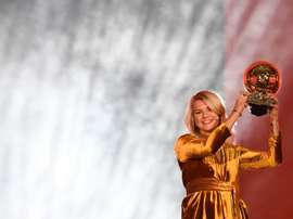 Norwegian striker Ada Hegerberg, of Champions League winners Lyon, with her trophy. AFP