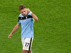 Lazio striker Ciro Immobile celebrates his penalty. AFP