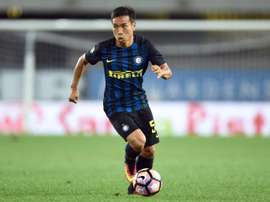 Nagatomo scored the winning penalty in the shoot-out against Pordenone. AFP