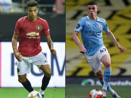 Manchester United's Mason Greenwood (L) and Manchester City's Phil Foden. AFP