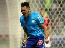 Ocampos bisou e foi essencial no triunfo do Marseille. AFP