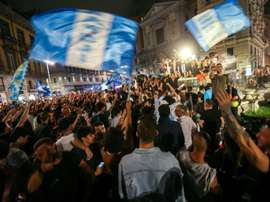 Napoli fans celebrated their win over Juventus. AFP