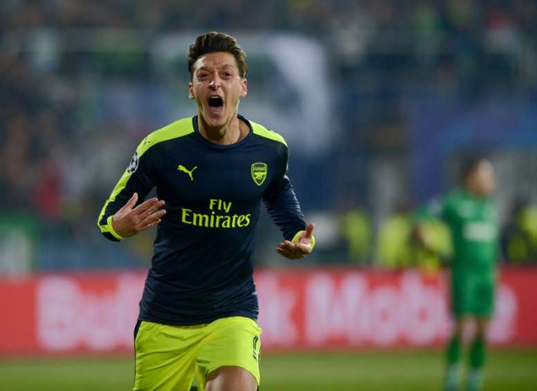 Ozil celebrating a goal in November. AFP