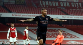 Gabriel Jesus set Man City on their way to a 1-4 win at Arsenal. AFP