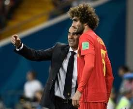 Fellaini no jugó en el amistoso ante Holanda. AFP
