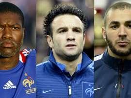 L-R: France's Djibrill Cisse, Mathieu Valbuena and Karim Benzema. AFP