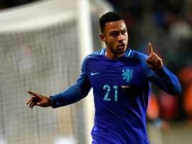 Netherlands' Memphis Depay celebrates after scoring a goal against Luxembourg. AFP