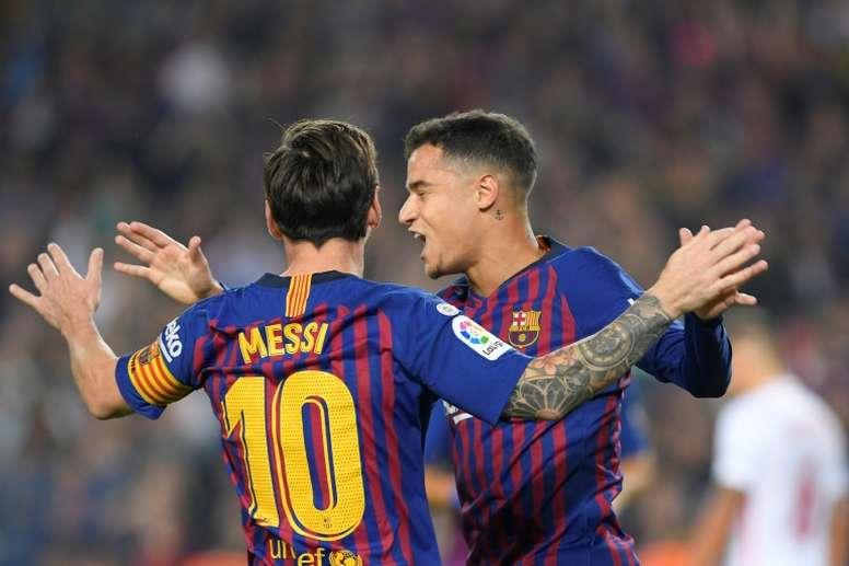 Messi e Coutinho estão entre os titulares do Barcelona para o amistoso contra o Girona. AFP