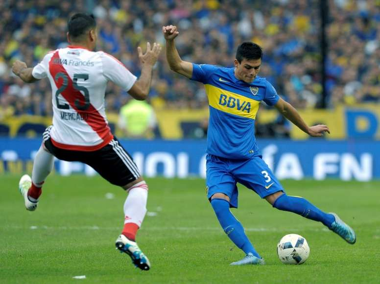 Boca's Jonathan Silva (R) and River Plate's Gabriel Mercado in action in the last superclasico. AFP