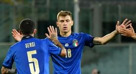 Stefano Sensi marcou o gol de empate da Itália. AFP