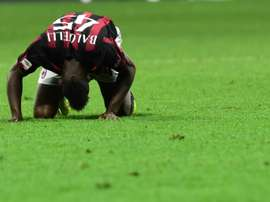 AC Milan forward Mario Balotelli pictured during the Serie A match against Carpi at San Siro Stadium in Milan on April 21, 2016