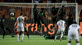 Mahrez's free-kick broke Nigerian hearts. AFP