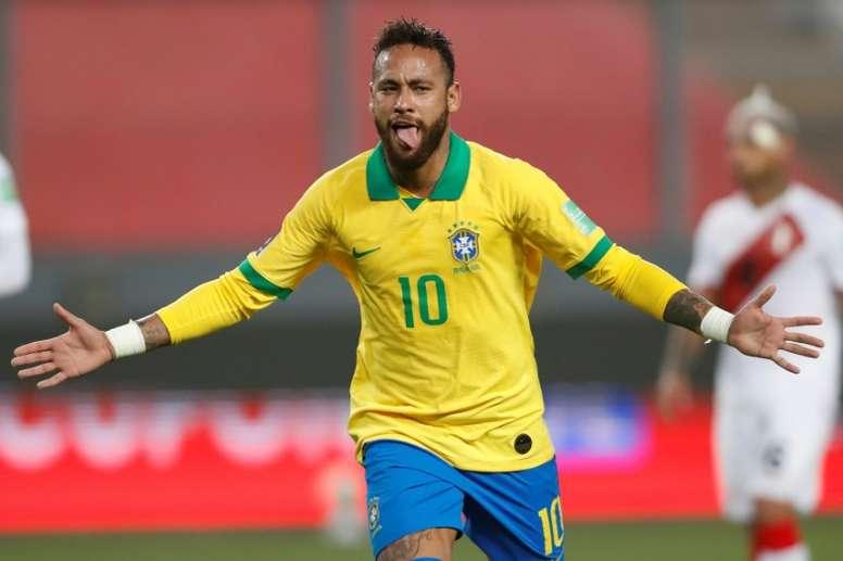 Neymar scored a hat-trick for Brazil against Peru in World Cup qualifying. afp_en