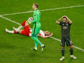 Bruno Fernandes scored, but Man Utd were knocked out of the Champions League. AFP